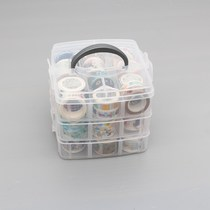 Multi-functional transparent stationery storage box and paper tape finishing storage box account desktop tools plastic box