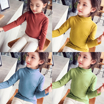 Autumn and Winter new girls bottoming shirt childrens long-sleeved T-shirt plus velvet thick warm jacket Korean version of pure cotton