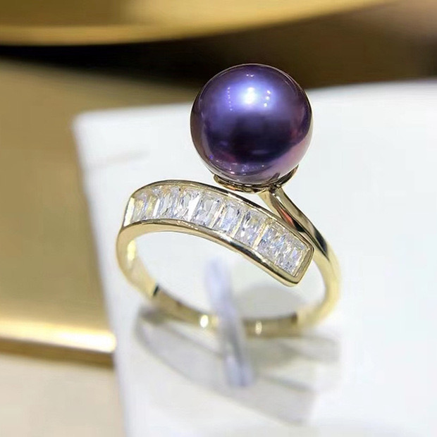 DIY accessories S925 pure silver temperament pearl adjustable ring womens hand-held material jewelry ring.