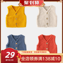 Baby waistcoat autumn and winter wear female newborn waistcoat fleece clothes male baby vest winter clothing childrens vest