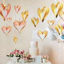 Love pendant room roof shop bright heart-shaped romantic creative ornaments eleven National Day decorations