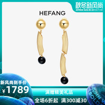HEFANG Jewelry hefang jewelry long pink ear clip 925 sterling silver female net red asymmetric earrings jewelry