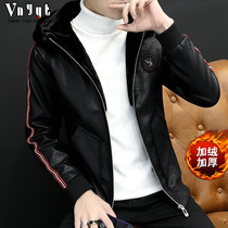 Mens personality hooded leather mens social guy spirit plus velvet leather jacket motorcycle mens handsome thick coat