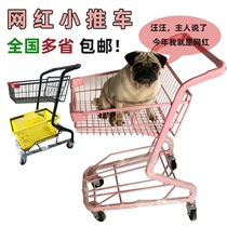 Supermarket shopping cart trolley net red pink shopping cart shopping mall net red shop decoration large double-decker trolley.