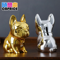 2018 year of the dog mascot ornaments piggy bank gold dog piggy bank small crafts creative home car interior decoration