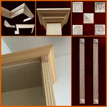 Natural solid wood European lines Roman column combination top line wardrobe cabinet top line decorative lines shut line