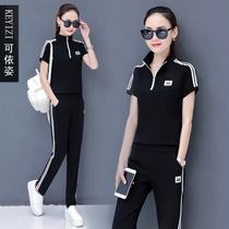 Sportswear suit female Summer 2019 summer new Korean womens short-sleeved trousers fashion loose casual two-piece