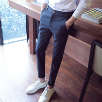 Mens suit pants Korean version of the trend small feet black nine-point slim business formal casual suit pants