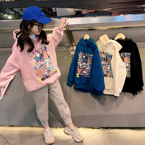 Childrens clothing girls plus thick fleece sweater 2019 new autumn childrens big child warm jacket Korean version of the tide of foreign winter