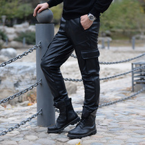 Leather pants men plus velvet thick 2019 new suede waterproof windproof motorcycle loose charge mens leather pants