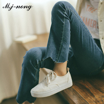 McGinn jeans female Spring and Autumn 2018 new Korean version of the show tall and thin waist students nine pants straight pants