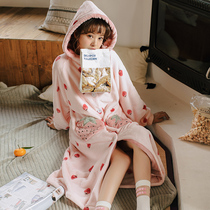 Coral Velvet Pajamas Female autumn winter thickening warm long robe female winter Korean version sweet cute flannel Home suit