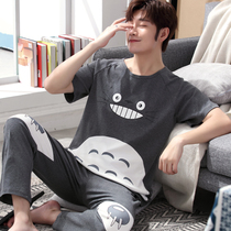 Mens pajamas summer cotton short-sleeved trousers spring and autumn thin section cartoon Youth Home Service suit XL