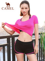 Camel outdoor sports suit spring and summer 2019 sports suit yoga clothing women slim running clothes three-piece
