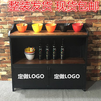 Self-service skewered incense pot shop seasoning station retro dining cabinet commercial small material seasoning station sauce restaurant preparation cabinet