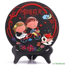 Yi Jia charcoal carving wedding series disc can be printed happy time Happy Wedding hand gift