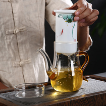 Glass black tea teapot tea brewing device Dehua white jade porcelain teapot hand-painted ceramic liner filter bubble tea pot