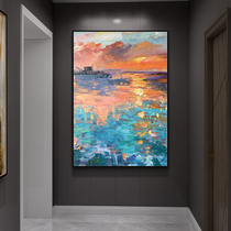 Pure hand-painted oil painting living room decorative painting at the end of the corridor aisle entrance hanging abstract hand-painted mural vertical version of Light Luxury