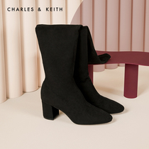 CHARLES & KEITH2019 Winter new CK1-90360307-1 solid color simple women's high-heeled boots