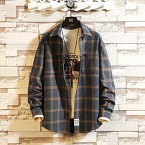 Mens plaid shirt long-sleeved Korean version of the trend of Japanese large size loose handsome shirt jacket autumn wild fat