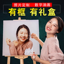 Custom diy digital painting photo color zero-based hand-painted simple good painting couple oil painting