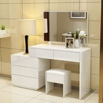 Dresser simple modern bedroom makeup mirror solid wood table Makeup table white paint storage box Makeup Table stool