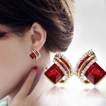 Korea big diamond geometric personality crystal earrings female fashion temperament anti-allergy earrings earrings red