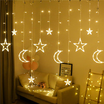 led Star lights small lights flashing lights string lights starry red bedroom romantic room curtains decorations layout