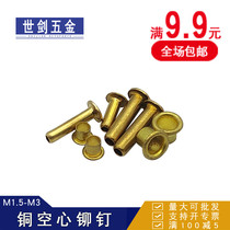 M2M3 pure brass hollow Rivet GB876 eyelet buckle over the hole Willow nail copper single tube extension tag shoes eye