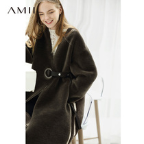 Amii minimalist fashion 100%wool fur coat temperament Winter new loose long paragraph sheep shearing coat female