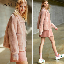 Amii minimalist fashion luxury large particles of pure wool sheep shearing coat female temperament Winter new lapel coat