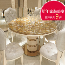 Marble dining tables and chairs combined with European marble dining table grand Round table Italian wind and luxury dining table