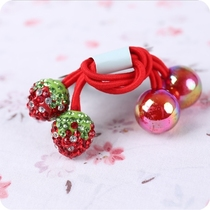 South Korea imported childrens hair ornament headdress head rope diamond small strawberry pink bead ball double-headed braid hair rope.