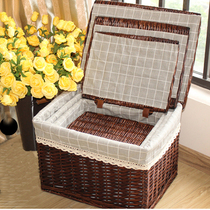 Large storage box covered rattan finishing box drawer clothes toys wicker storage box woven clothing storage basket