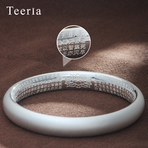 Ancient silver bracelet 999 sterling silver Female Heart Sutra matte silver bracelet to send his girlfriend to send his mother a gift silverware
