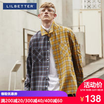 Lilbetter plaid Shirt male long-sleeved Korean version of the port wind shirt hit color casual flower shirt Guocha mens Shirt