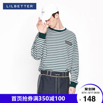 Lilbetter striped t-shirt mens long-sleeved Korean version of clothing trend handsome loose-fitting T-shirt Hong Kong wind autumn T-shirt tide