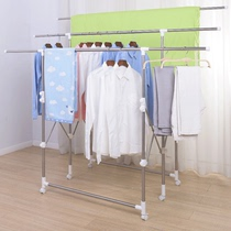Bold and thick telescopic clothes hanger outdoor clothes hanger balcony clothes rack double rod floor folding X-shaped tanning rack.