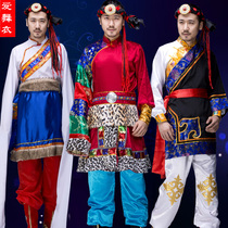 New Tibetan clothes male Tibetan dance clothing sleeves minority zassidler performing clothes grassland songs