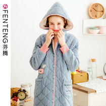Finn Qiu Winter knitted cotton nightgown female medium and long thickened cardigan pajamas cute hooded warm home clothes