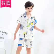 Fen Teng summer new boy cotton short-sleeved shorts pajamas cartoon cartoon cotton male baby home service suits