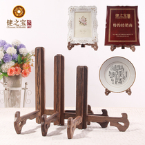 New wing wood shelf decorative plate crafts solid wood Photo Frame display triangular bracket PUer tea cake bracket