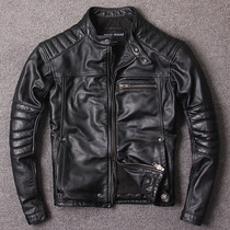Independent original spring and autumn short paragraph collar slim tide leather jacket mens leather motorcycle jacket first layer leather leather