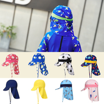 Childrens sunscreen beach hat neck hat beach play anti-ultraviolet ghost hat sunshade mantle swimming cap