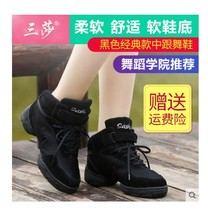 Three sand dance shoes new square dance shoes female summer jazz dance shoes leather soft bottom modern dance shoes fitness aerobics
