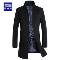 (Spike) Romon Romon woolen jacket male winter long woolen coat middle-aged woolen coat
