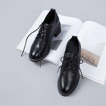 Black small shoes female British style shoes leather rough with the retro lace wild college wind chic shoes
