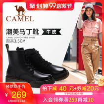 Camel shoes 2019 Winter new wild handsome motorcycle short boots womens leather net red British wind Martin boots women