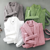 Hotel bathrobe men and women couples cotton to increase the thickness of the robe autumn and winter long towel material absorbent quick-drying cotton bathrobe