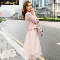Dress women Spring 2019 New Korean version of fashion long-sleeved top skirt sweet lady temperament two-piece set